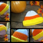Candy Corn Loom Knit Hat Pattern by Erin Lowmaster