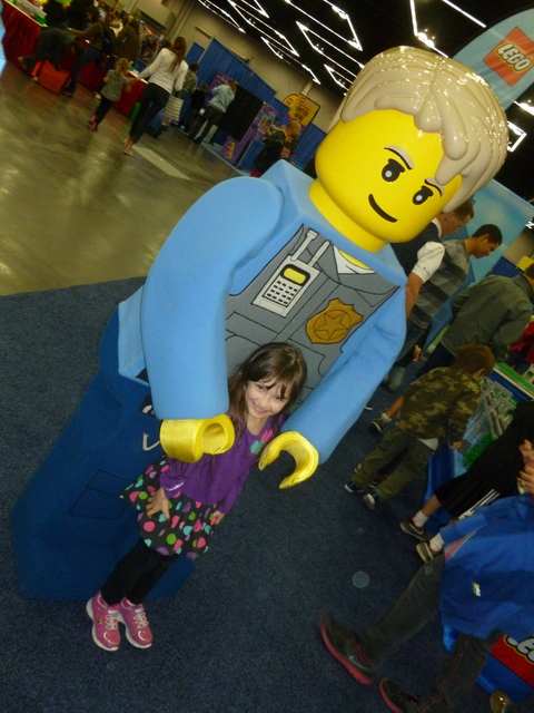 My daughter and a life sized Lego Man