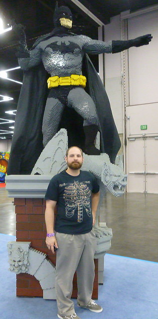 My Husband posing by Batman