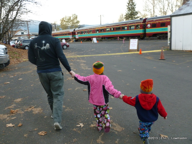 My husband and children on their way to ride the train!